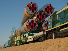 The Soyuz rocket is rolled out to the<br /> launch pad by train on Tuesday,<br /> March 26, 2013, at the Baikonur<br /> Cosmodrome in Kazakhstan.<br /> Image Credit: NASA/Carla Cioffi