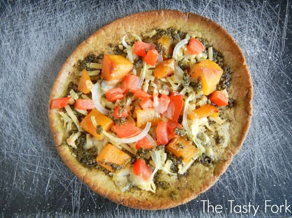 Whole Wheat Pita Pizza with Pesto, Butternut Squash and Smoked Gouda. Quick & Easy Recipe! Get it now at www.thetastyfork.com